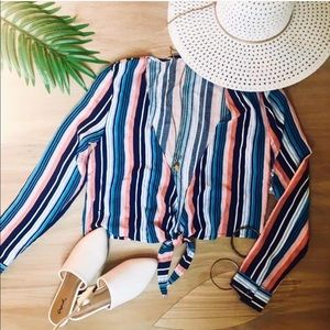 Striped tie cover up tops